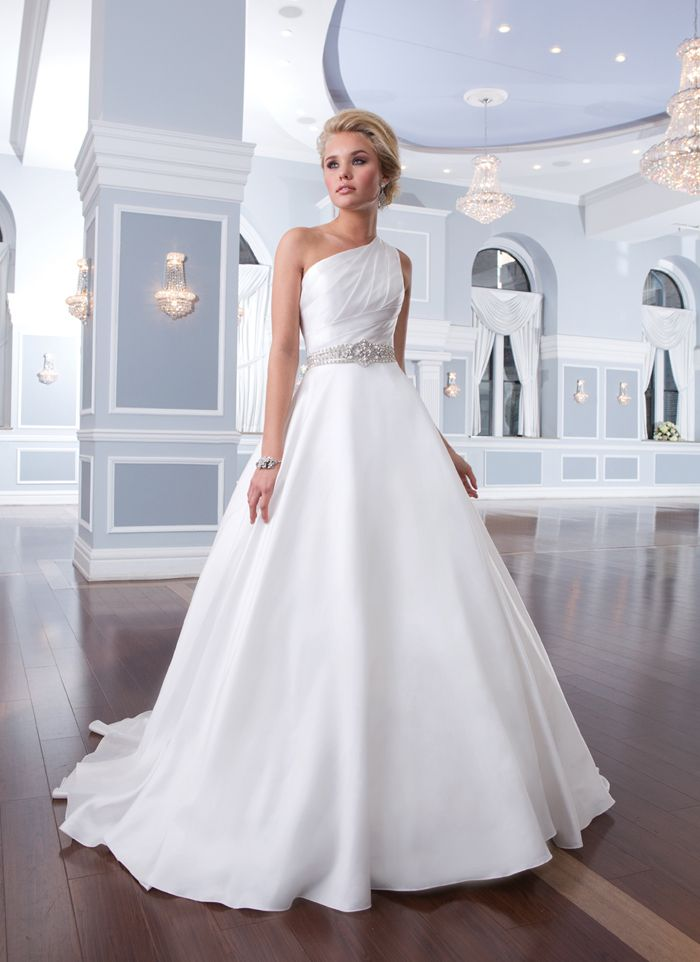 Lillian West lillian west style 6297 This one shoulder satin organza asymmetrical draped bodice has beaded trim at the natural waistline of this circular cut skirt. The back of this dress has satin organza buttons over the back zipper that finishes with a chapel length train.