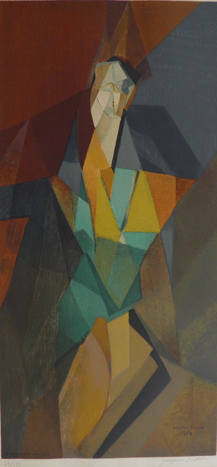 """Jacques Villon:""""Cubist Woman""""From Original Painting 1914 Signed Lithograph 1962"""