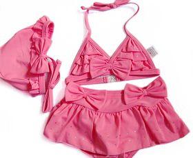 Toddler Girls Swimsuit, Bowknot Pink Bikini, TWO-Piece Swimwear
