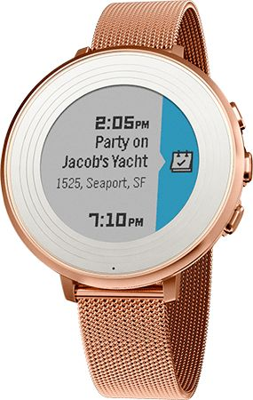 Pebble watch with rose gold bezel and band.