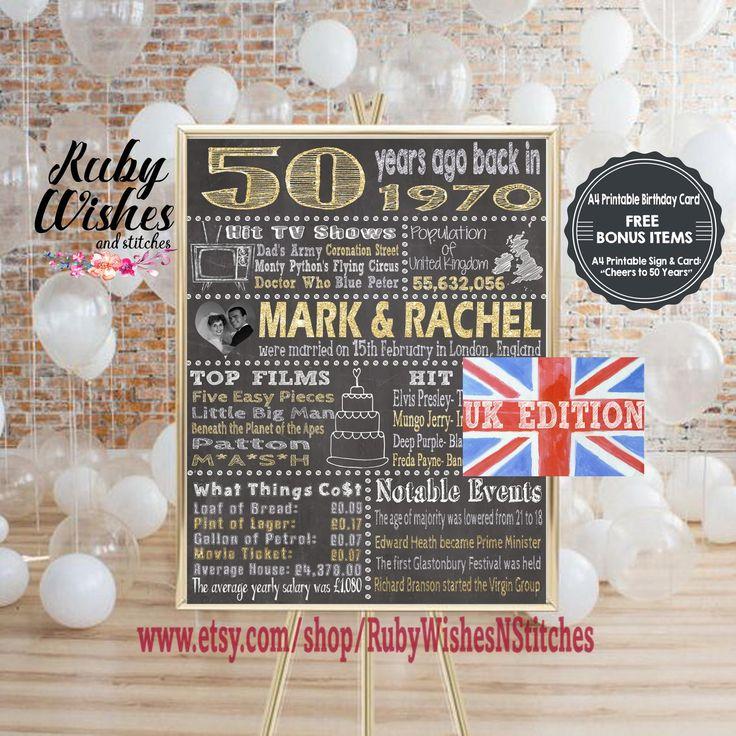 Personalised 50th Wedding Anniversary 1970 Chalkboard