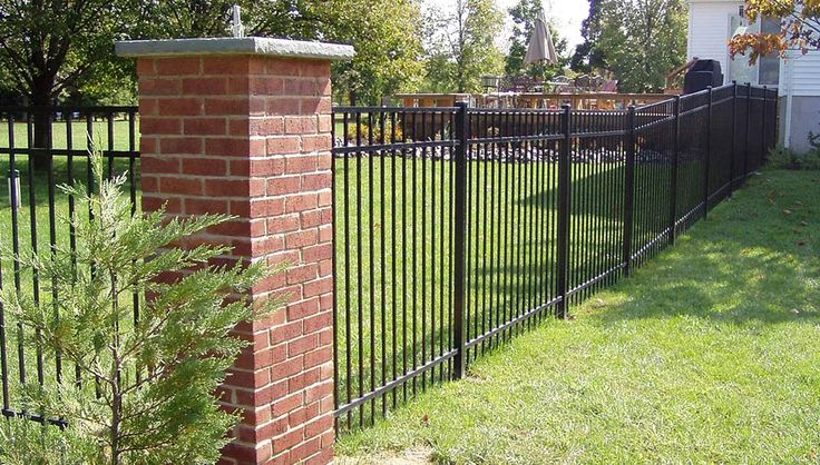 Wrought Iron Fence With Brick Columns Разное Backyard
