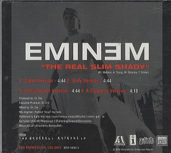 """For Sale - Eminem The Real Slim Shady USA Promo  CD single (CD5 / 5"""") - See this and 250,000 other rare & vintage vinyl records, singles, LPs & CDs at http://991.com"""