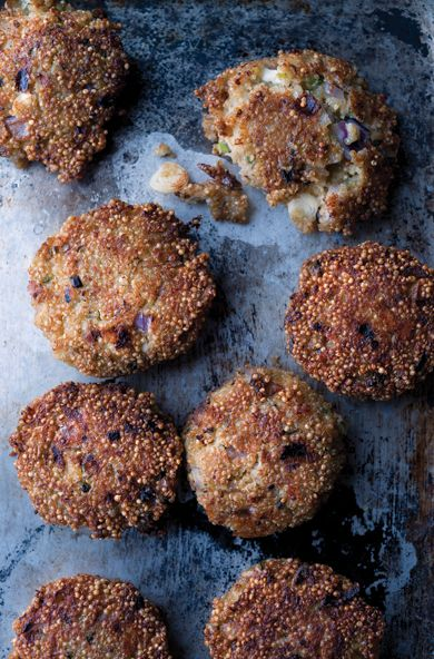 How to Create a Mezze Menu with Chef Yotam Ottolenghi - Quinoa and Wild Garlic Cakes with Salbitxada Sauce from #InStyle