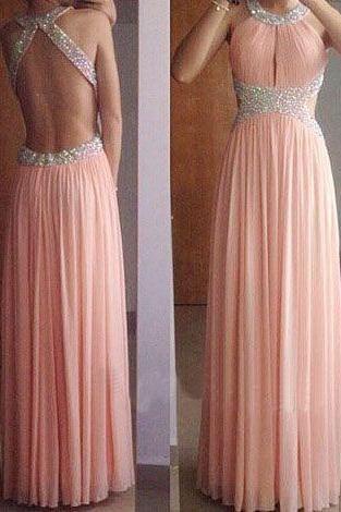 Backless Prom Dress,Chiffon Prom Dress,Evening Dress,Formal Dress