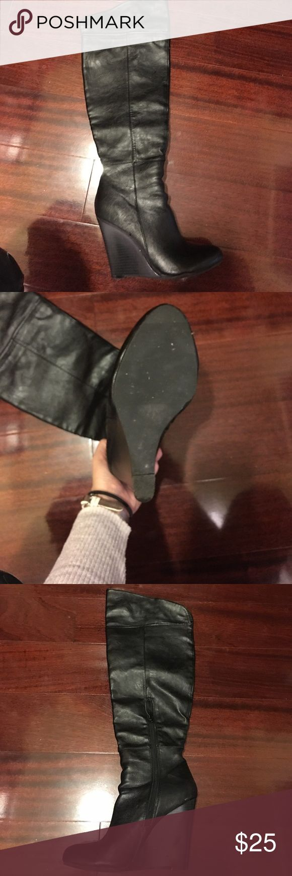 Black knee high wedge boots Black knee high size 7 Maurice's wedge boots. In great condition. Maurices Shoes Wedges
