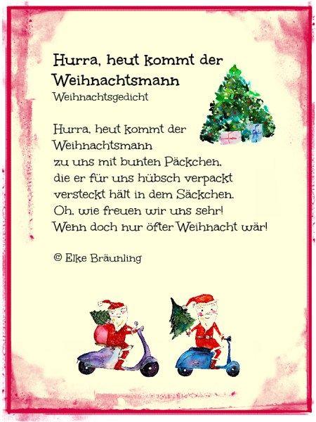 Weihnachtsgedicht. Hurra, heut kommt der Weihnachtsmann – Märchenfrau – Geschichten, Märchen und Gedichte