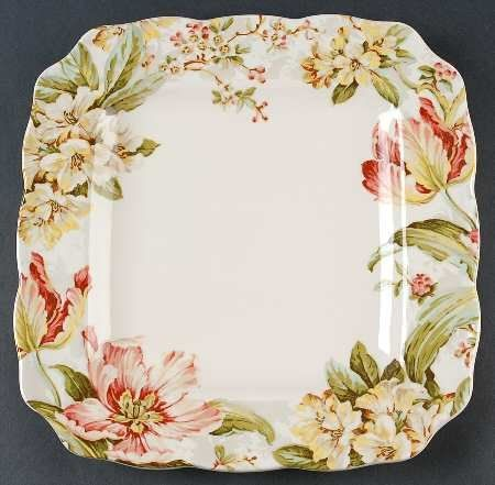 222 Fifth Ellis Square Dinner Plates, Set of 4, Spring Tulips Cherry Blossoms Easter 222 Fifth