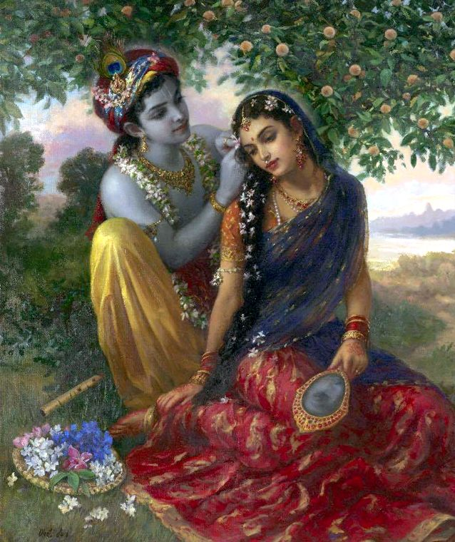 A Babaji is always meditating on the Sri Sri Radha Krsna's loving pastimes.  Mentally, he visualizes himself as a young Gopi (manjari) in the service of the Divine Couple