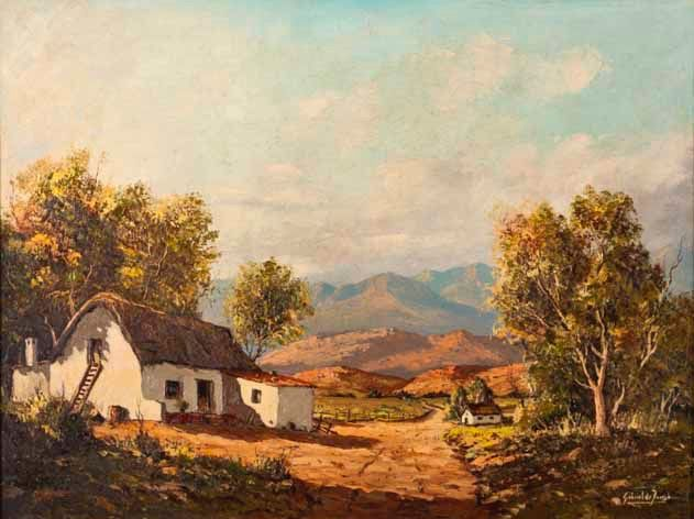 Gabriel Cornelis de Jongh A COTTAGE ALONG A PATH  signed oil on canvas  craquelure and surface dirt noticeable in the sky area 45 by 60cm