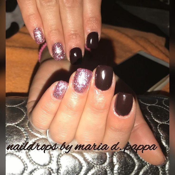 #manicure #brownnails #pinkgoldnails #glitternails