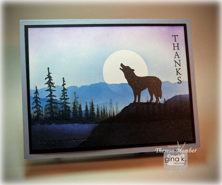 By Theresa Momber, using the Gina K stamp set Mountain Wilderness. Tutorial on her website.