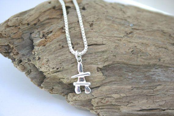 Sterling Silver Inukshuk Necklace by 2BeadingHeartsJewels on Etsy #inukshuk #Canadian