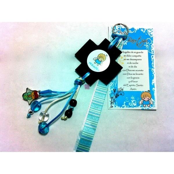 0154 llavero angelito cruz madera ni o azul favors and - Manualidades de llaveros ...
