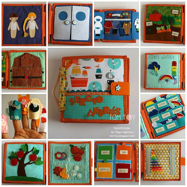 Handmade cloth quiet busy book. Love the weather pages, dress up the dolls as different jobs and the seasons tree.