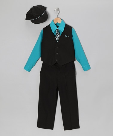 Take a look at this Black & Turquoise Vest Set - Infant & Toddler by Silver Suit on #zulily today!
