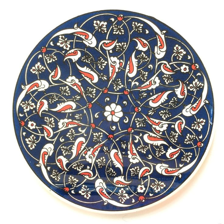 Navy Ceramic Trivet Iznik design
