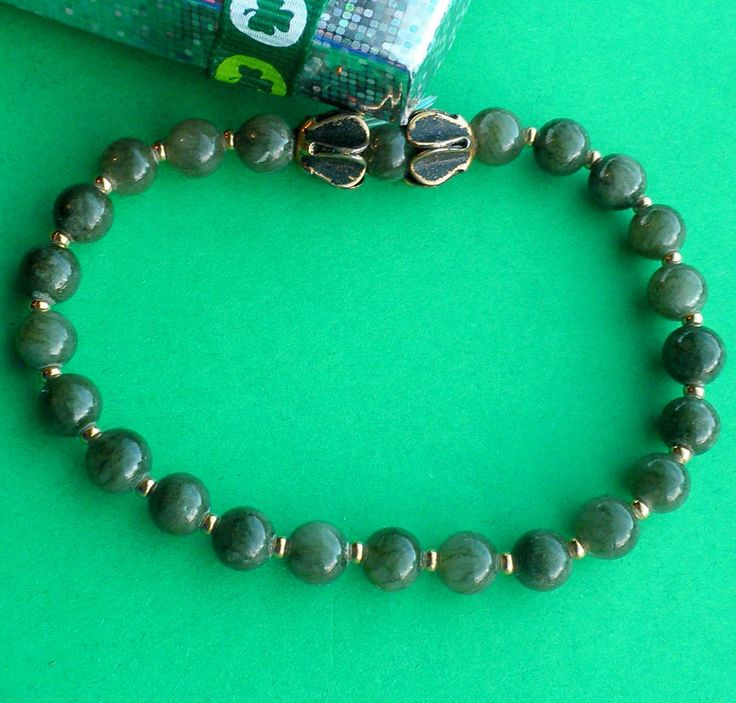 Connemara Marble Stretch Bracelet, 6mm Forest Green Beads with 18ct Gold Filled Seed Beads, by VintageIrishDresser on Etsy