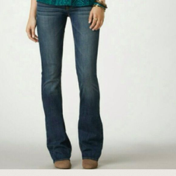 "American Eagle Outfitters Artist Jeans First photo is stock photo of model wearing this style of Jeans. Last 3 pics of actual item/actual color. Size 6. Artist. BootCut design. Length ""38.5. Rise ""8.5. Inseam ""31. Laying flat ""15. This item is NOT new, It is used and in Good condition. Authentic and from a Smoke And Pet free home. All Offers through the offer button ONLY.  Ask any questions BEFORE purchase. Please use the Offer button, I WILL NOT negotiate in the comment section. Thank You…"