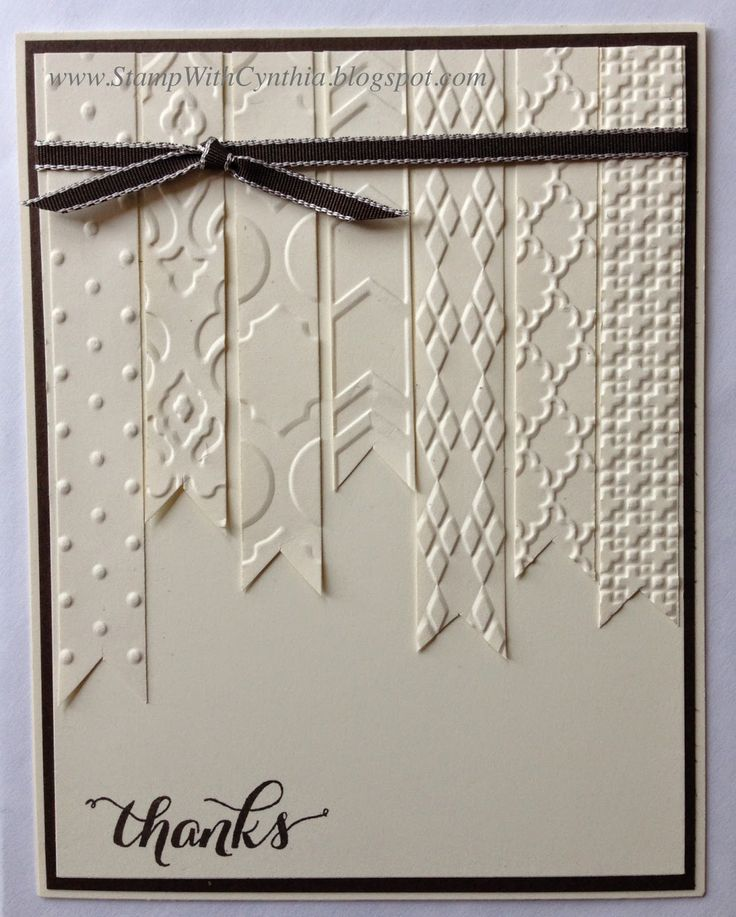 """Lovely """"Thanks"""" Easy Vanilla Card...using sections of banner shaped cardstock embossed from various folders.  By Cynthia Millan, SU:  Stamp With Cynthia."""
