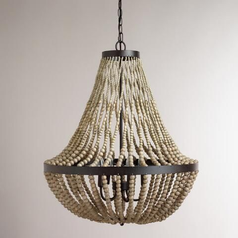this is really pretty and only $269. for kitchen dining..Large Wood Bead Chandelier | World Market
