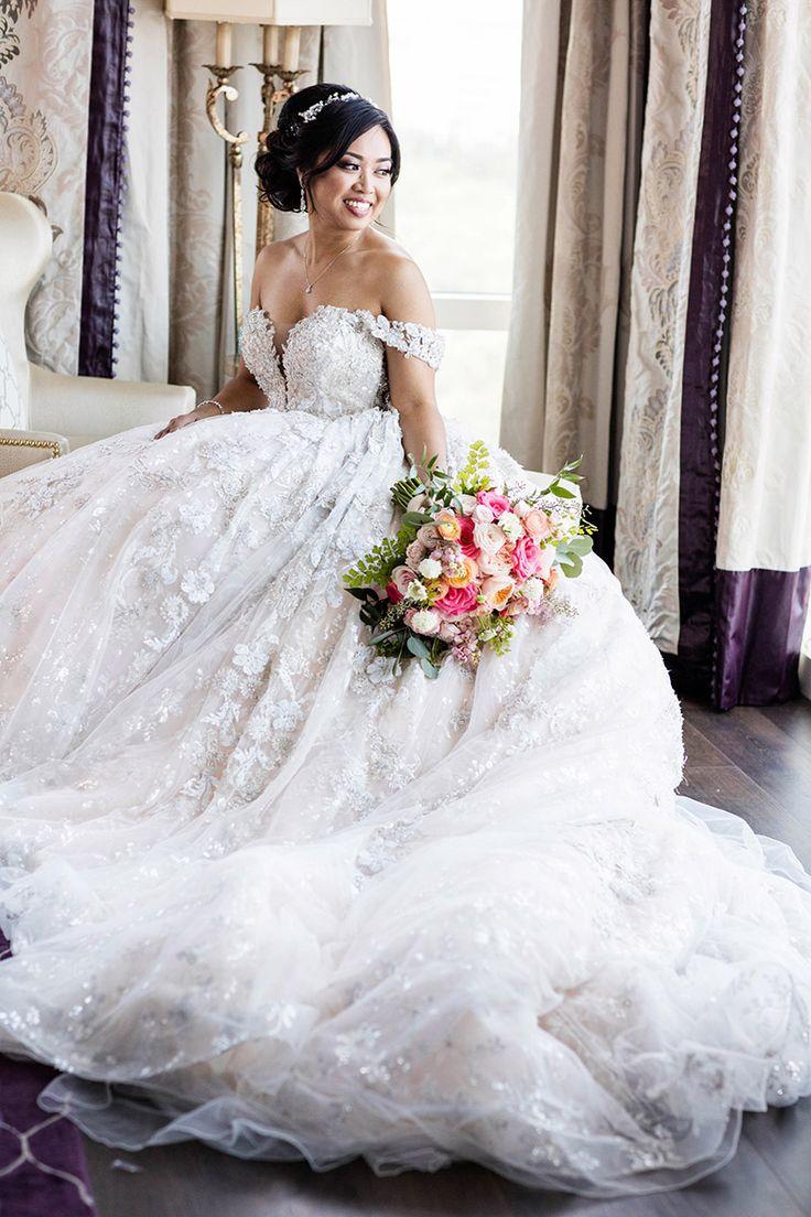 A beautiful Disney bride in her stunning wedding gown.