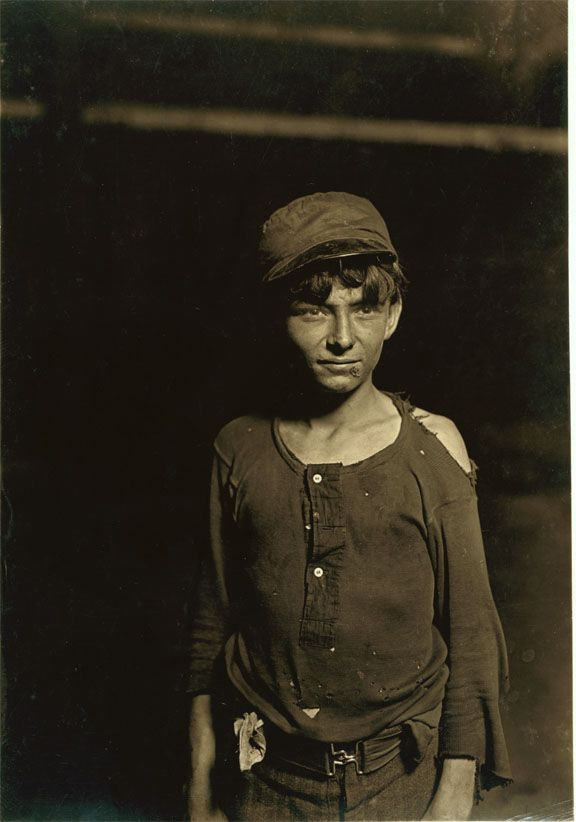16 year old on night shift, glass works factory, 1908, Lewis Hine