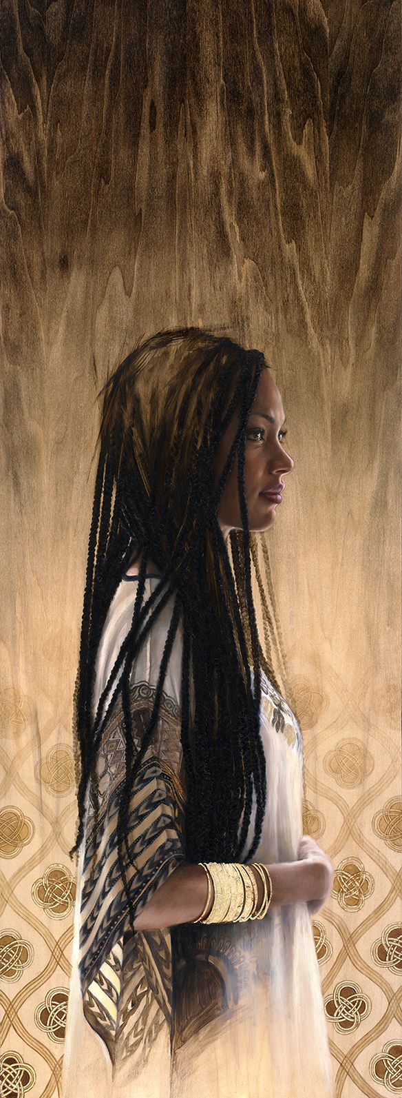 """'The Shadow of your smile' by Sara Golish Oil & gold leaf on wood panel 18"""" x 50"""" www.saragolish.com #portrait #profile #painting"""