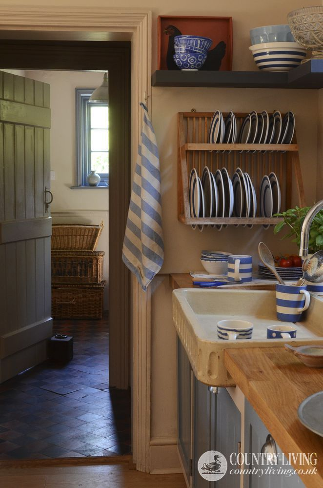 Cottage Kitchen with a Great Sink and a Collection of Blue & White Cornishware.