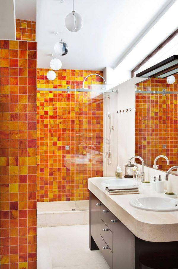 architecture fetching cozy homes interior of ruben dishdishyan designed by russian architect nicholas lyzlov featuring orange bathroom ideas with wooden