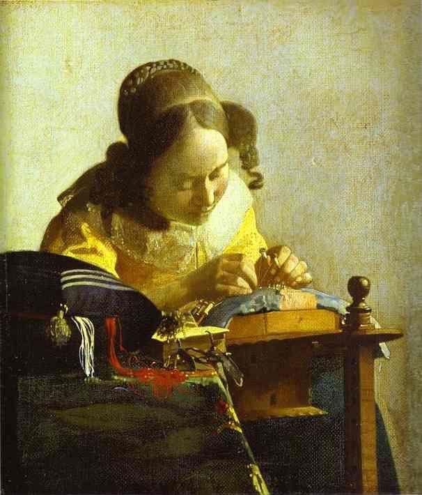 Johannes Vermeer, The Lacemaker, 1669-1670. Musee du Louvre. Paris. France