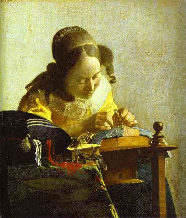 Jan Vermeer >> The Lacemaker  [ I have a print of this hanging in my house! It was given to me when I was a teenager from a family friend. J ]
