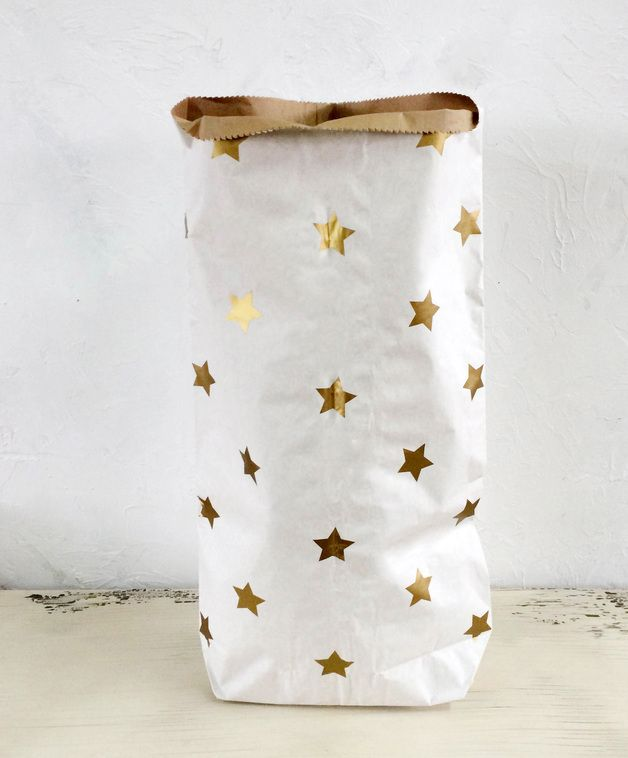 Storage – Worek Stars Gold – a unique product by MIA-home-passion on DaWanda