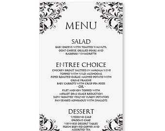 Charming Dinner Menu Template Free  Formal Dinner Menu Template
