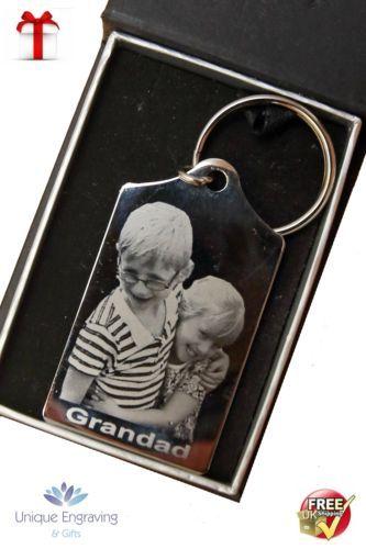 Metal-Personalised-Photo-Engraved-Tapered-Keyring-FREE-UK-POSTAGE