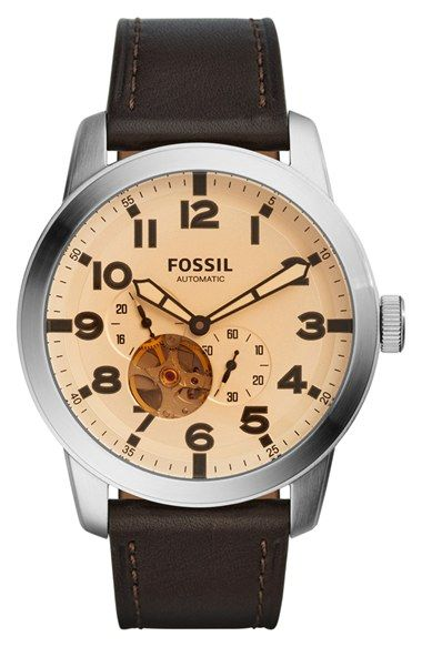 Fossil 'Pilot 54' Leather Strap Watch, 44mm available at #Nordstrom