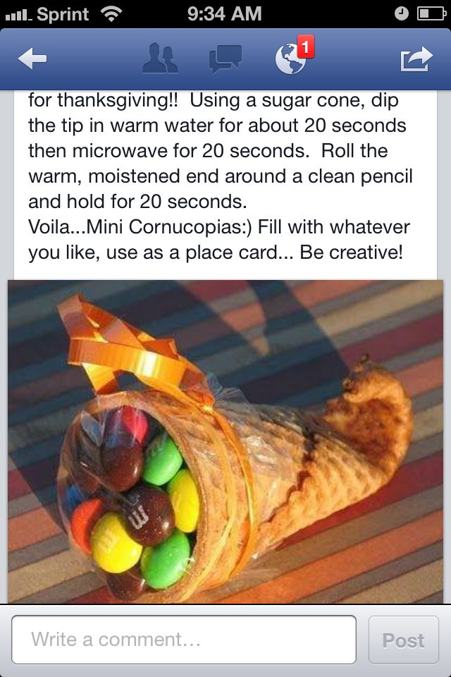 Great idea for thanksgiving place setting treat or kids school classroom party