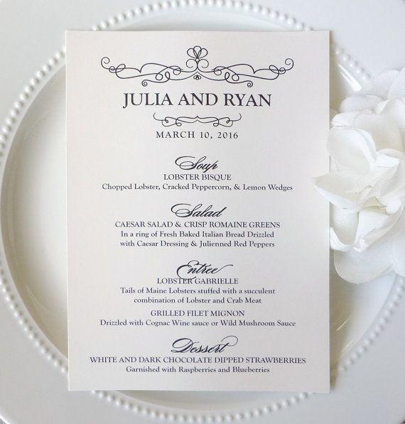 80 best wedding menus images on pinterest etsy shop wedding printed wedding menus 5x7 inches by thatprettyinvitation junglespirit Choice Image
