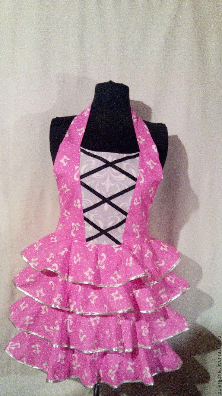 """Купить Фартук женский с воланами """"Розовый""""(корсет, юбка с оборками, подарок) - женский фартук, подарок женщине"""