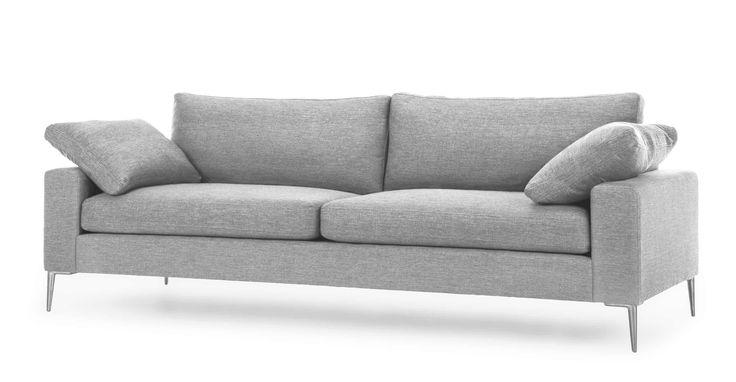 Light Gray Sofa 3 Seater With Metal Legs Article Nova