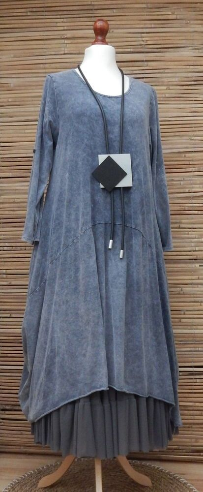 """LAGENLOOK*COTTON STUNING BOHO OVERSIZE TIE DYE DRESS*DUSTY BLUE* BUST UP TO 46"""" #MadeInItaly #Dress #Casual"""