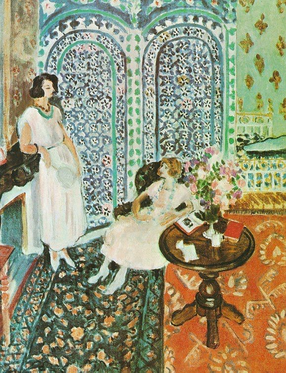 The fabric hanging at the center of this painting (now in Philadelphia) is called a moucharabieh. Matisse owned several, and was fascinated by their design and textures.
