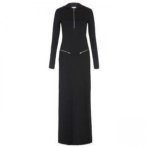 Black Hood Zipper Dress