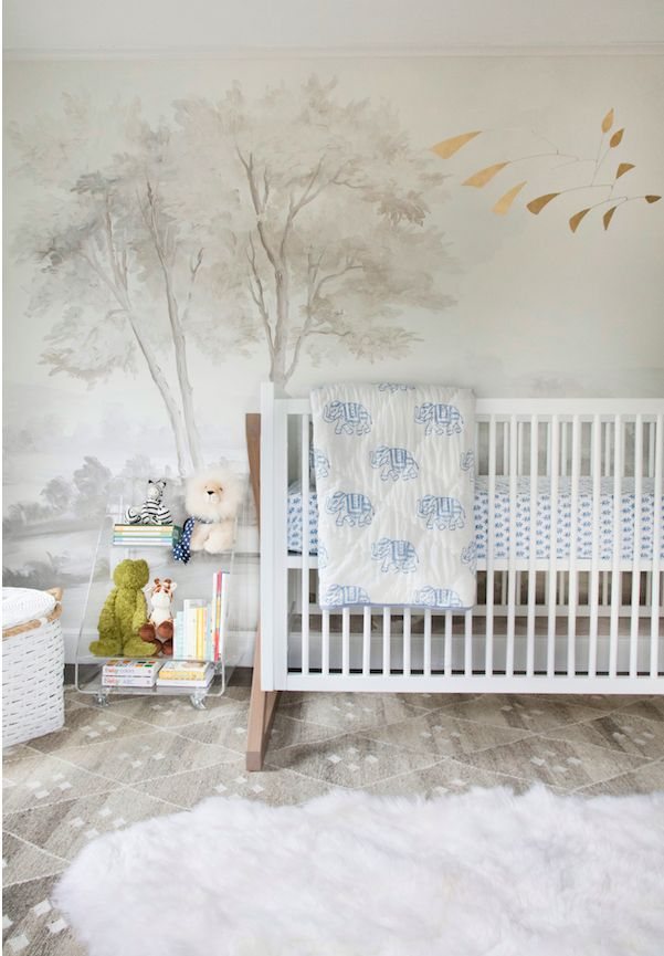 Designer Erin Gates made this lovely grisaille scheme for her child's nursery.
