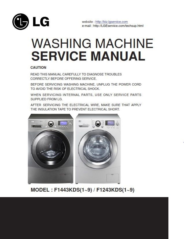 Lg F1443kds7 Steam Washer Service Manual And Troubleshooting Guide Washing Machine Service Washing Machine Steam Washer