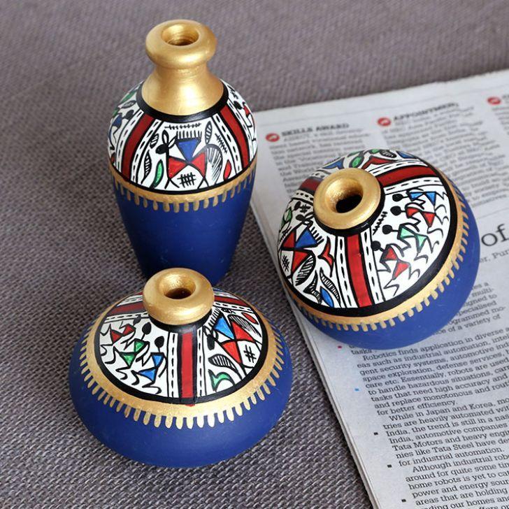 Maati Designs Blue Earthen Miniature Pots Set of Three - FabFurnish.com