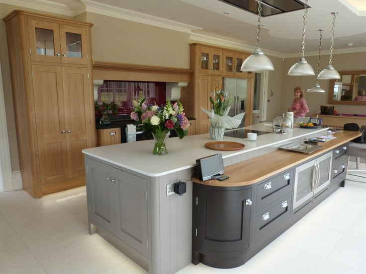 Large, grey, shaker style kitchen, aga, wine fridges, larder storage