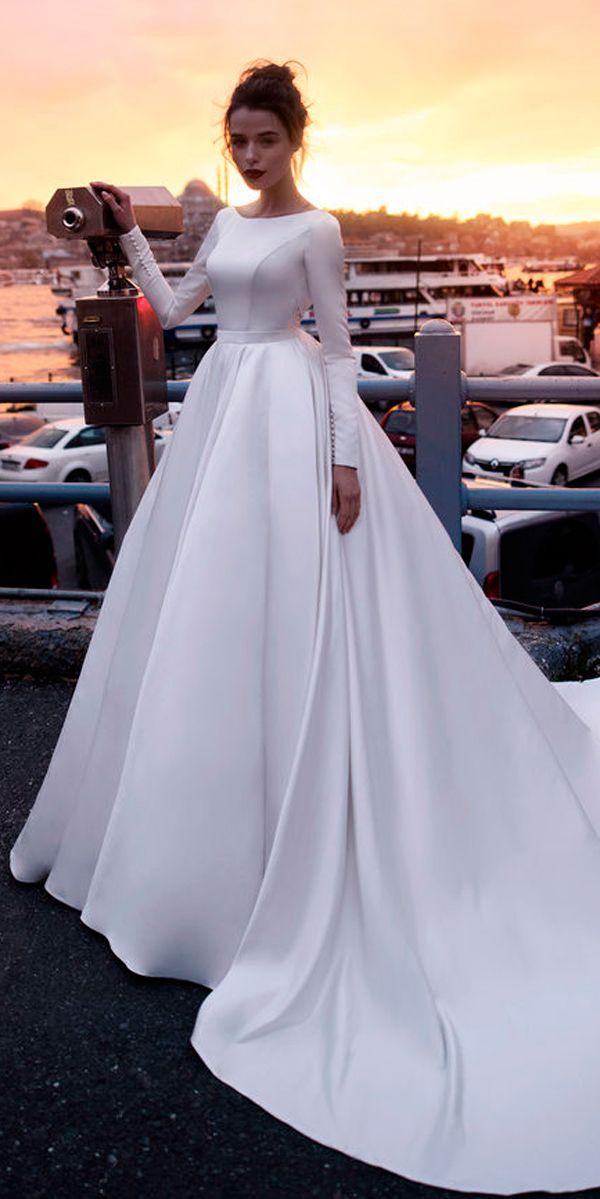 30 Cute Modest Wedding Dresses To Inspire Long Sleeve Satin