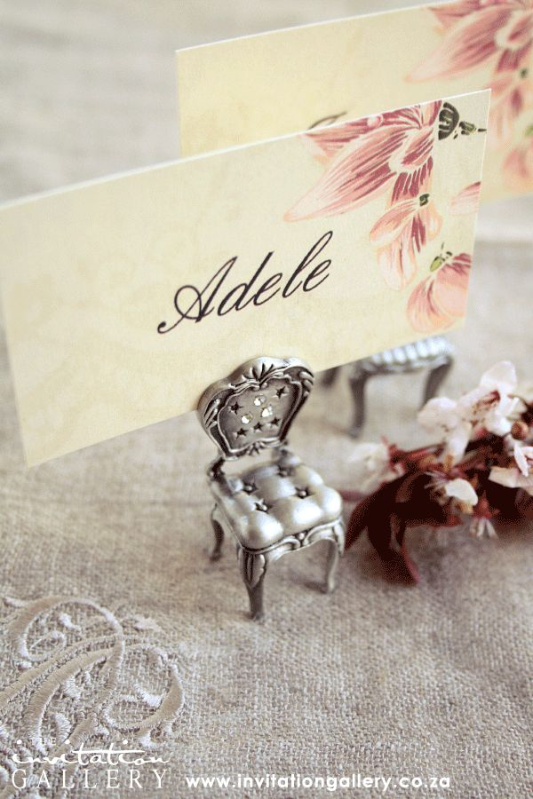 Personalised name card with vintage floral and lace design. (Colours and text can be customised).