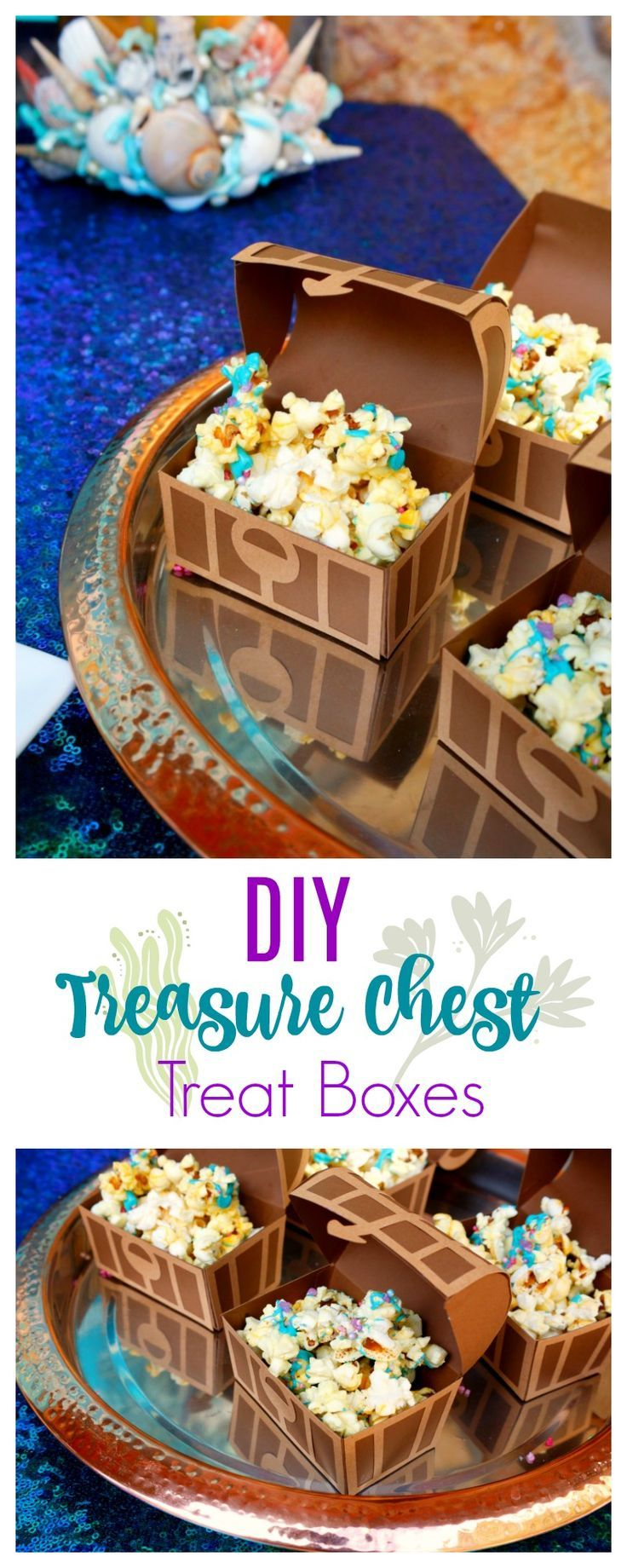 Here's an easy to follow tutorial for making these treasure chest treat boxes - they make excellent party favors for your Under the Sea, Mermaid, or Pirate party.